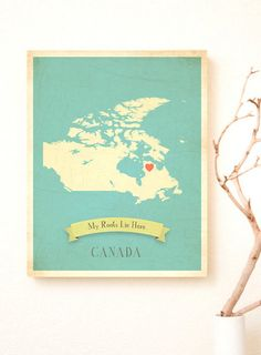 SALE OFF Choose Your Country Personalized Vintage Map Wall Art -Canada Map for our living room! A great big heart where we call home! Playroom Decor, Kids Decor, Decor Ideas, Decorating Ideas, Office Decor, Canada Day Crafts, Map Wall Art, My Roots, Art For Kids