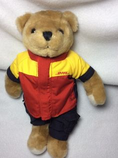 """DHL Teddy Bear  Plush Courier Delivery Advertising 10"""" Soft Toy Stuffed #DHL #AllOccasion"""