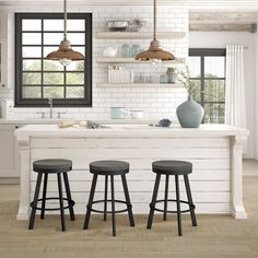 Amisco Warner Metal Stool, Swivel stool, Counter height, Distressed wood seat