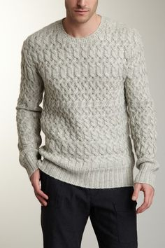 John Varvatos Collection  Cable Knit Crew Neck Sweater