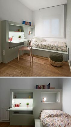 This modern kids small bedroom furniture has been designed to keep things organized with built-in shelving and a fold-down homework station.