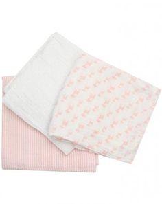Mullwindel-Set LELA 3er Pack in weiß/rosa