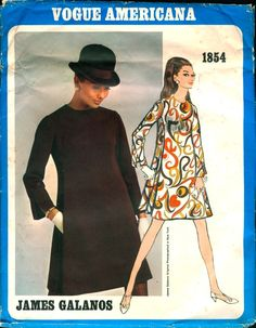 Ab Fab Mod Vintage 1960s Vogue Americana Pattern for a Dress designed by James Galanos, Pattern # 1854