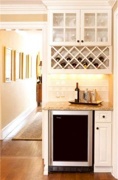 Wine bar/wine fridge Classic Traditional Kitchen by Sheila Jones Home Renovation, Home Remodeling, Kitchen Remodeling, Built In Microwave Cabinet, Built In Bar Cabinet, Built In Wine Refrigerator, Kitchen Built Ins, Basement Kitchen, Small Cabinet