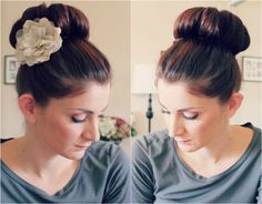 elegant top knot hairstyle with flower for long hair in autumn 2013