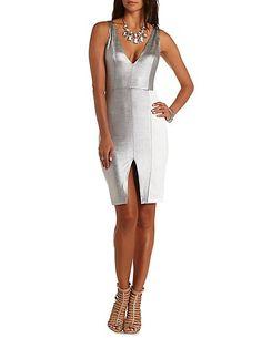 Metallic Color Block Bodycon Dress #CharlotteRusse #CharlotteLook #Metallic #bodycon #dress