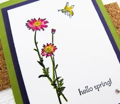 2014 Stampin Up Springtime Hello Melon Mambo Marker Daffodil Delight Marker Old Olive Marker Whisper White Cardstock Old Olive Cardstock Elegant Eggplant Cardstock Springtime Hello Stamp Set Dazzling Details Glitter Cork Contact Paper Square Lattice Embossing Folder