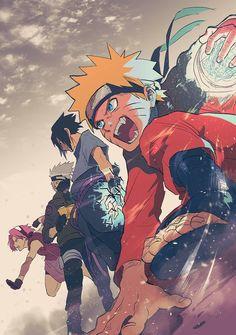 Kakashi Hatake, Sasuke Uchiha, Sakura Haruno and Naruto Uzumaki Naruto Shippuden Sasuke, Naruto Kakashi, Anime Naruto, Naruto Team 7, Naruto Sasuke Sakura, Naruto Fan Art, Boruto, Manga Anime, Male Manga