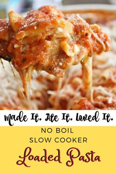 I always have a hard time finding a variety of slow cooker meals! Ones that don't have cream of chicken or something like that and that my husband can serve my family while I am gone at night without me having to leave a list of instructions to go along with it!  My husband and all 4 of my kids eat pasta with red sauce. And the other thing about this that I am obsessed with is that fact that you can just throw in the pasta without having to cook it beforehand! Delicious Dinner Recipes, Great Recipes, Healthy Recipes, Delicious Food, Food Dishes, Main Dishes, Family Meals, Family Recipes, Red Sauce