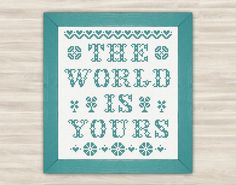 The world is yours Cross Stitch pattern by TimeForStitch on Etsy