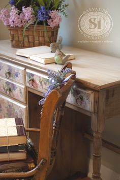 Some of the pieces I salvage have 'real-character'. Old furniture with great shape and detail, history and charm. Others pieces, well... not so much. For me, it's always a fun challenge to transform a 'nothing-special' plain looking piece into something noteworthy. This plain old desk I decoupaged with napkins is a perfect example.