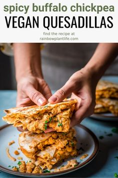 These Vegan Buffalo Chickpea Quesadillas are absolute best vegan quesadillas you will ever try! Made with a spicy buffalo sauce, chickpeas, and a Mexican cheese sauce, this is the ultimate comfort food! Veggie Recipes, Mexican Food Recipes, Whole Food Recipes, Cooking Recipes, Healthy Recipes, Healthy Vegan Meals, Vegan Lunches, Cooking Bacon, Hamburger Recipes