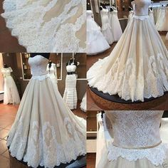 Ivory Lace and Champagne Satin A Line Wedding Dress Strapless Corset Bridal Gown