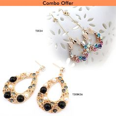 Combo of Long Vintage #Crystal and Bohemia Water #Black #Fashion #Earrings At Just Rs.449.00. ✓Free Shipping  ✓COD ✓Free Surprise Gift