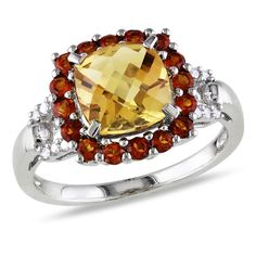Catherine Catherine Malandrino Cushion-Cut Citrine Madeira Citrine and Diamond Accent Halo Ring in Sterling Silver (Size