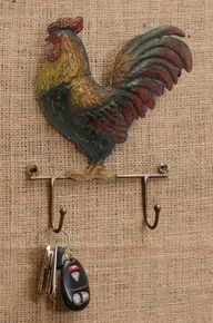 Farm Life Rooster Decor with Two Hooks - Homestead Store Chickens And Roosters, Pet Chickens, Country Crafts, Country Decor, Rooster Kitchen, Rooster Decor, Key Hooks, Down On The Farm, Vintage Country