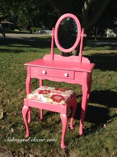 Salvaged Decor in Michigan painted this cute little vanity with American Paint Company's Momma's Lipstick.
