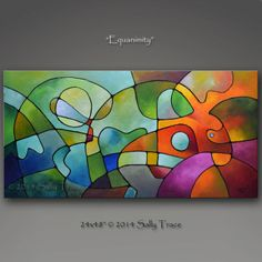 """Original abstract acrylic painting on stretched canvas """"Equanimity"""".  Very textured, mellow, geometric painting with harmonious colors, suggesting an abstract landscape.  Complimentary colors create a contrast that is made harmonious by the composition.    Made-to-Order original painting, this is a sold painting and you are ordering a commissioned re-creation, a new original painting.  Your new painting will be unique but very similar.     Acrylic on canvas, 24"""" high, 48"""" wide, 1.5"""" deep…"""