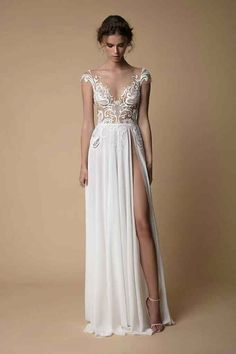 Embrace your sexy side on your wedding day with a thigh split wedding dress Bridal Dresses, Wedding Gowns, Prom Dresses, Formal Dresses, Muse By Berta, Long Sleeve Wedding, The Dress, Dress Collection, Designer Dresses