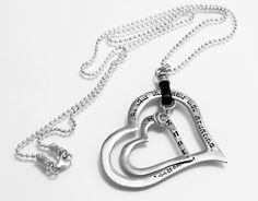 Women's Handmade Kabbalah Silver Song of Songs Love Necklace with Ma Yafit & Ana B'Koakh Engraved on 2 Heart Pendants - Made per Order