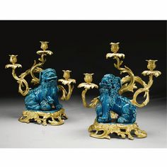 A Pair of Louis XV style Gilt-Bronze mounted porcelain Fu-Dog candelabras<br>French, circa 1880 Rococo, Baroque, European Mount, Stone Lion, Fu Dog, Chinese Antiques, Objet D'art, Asian Style, Chinoiserie