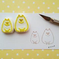 ポメラニアーン 猫に比べて犬はんこのレパートリーが極端に少ない…。 Diy Paper, Paper Crafts, Diy And Crafts, Arts And Crafts, Rubber Soul, Stamp Carving, Handmade Stamps, Fabric Stamping, Loot Bags