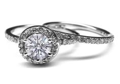 Vintage Style Diamond Halo Engagement Ring & Matching Wedding Band - ES356BS