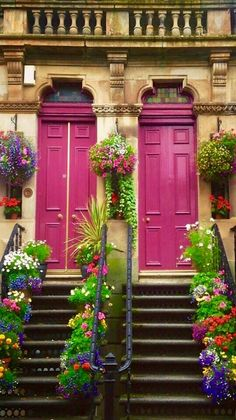 Pink doors in Glasgow, Scotland.