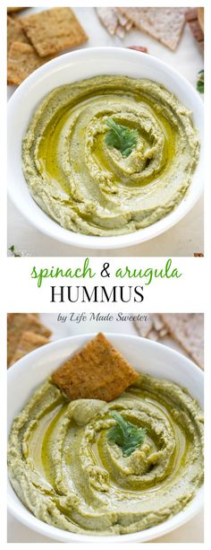 Spinach & Arugula Hummus - Super easy and loaded with spinach and arugula makes the perfect, healthy snack for St. Patrick's Day!