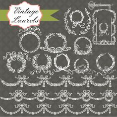 Check out Vintage Laurels Clipart & Brushes by Tangle's Treasures on Creative Market