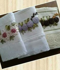 . Learn Embroidery, Silk Ribbon Embroidery, Embroidery Patterns, Embroidered Towels, Point Lace, Ribbon Art, Fabric Manipulation, Fabric Paper, Pattern Paper
