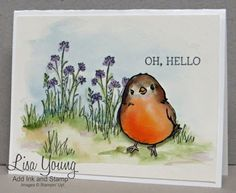 Stampin' Up! Honeycomb Happiness stamp set. In the Meadow stamp set. Handmade Watercolored card with Robin. Lisa Young, Add Ink and Stamp