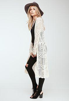 Longline Crochet Cardigan | FOREVER21 - 2000135524
