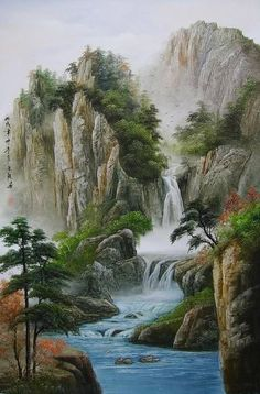 Images found for the search waterfall painting - Art Painting Chinese Landscape Painting, Fantasy Landscape, Landscape Art, Landscape Paintings, Asian Landscape, Pictures To Paint, Nature Pictures, Art Pictures, Beautiful Paintings