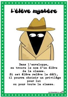 Graphic to use for mystery person of the week. Students ask questions to figure out who it is based on clues: if the students succeed in guessing the mystery student, they can choose a prize for either themselves or the whole class. Teaching Activities, Teaching Strategies, Teaching Tools, Teaching Resources, Teaching French, Behaviour Management, Classroom Management, Detective, School