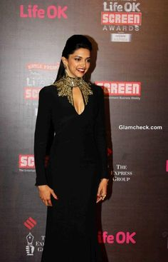 Deeepika Padukone who stood out on the red carpet in her black Alexander McQueen gown at Life OK Awards 2014.