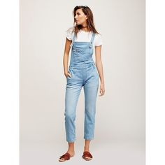 Washed Denim Overall ($127) ❤ liked on Polyvore featuring jumpsuits, ripped skinny jeans, denim overalls, skinny fit jeans, denim bib overalls and free people skinny jeans