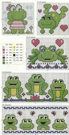 frogs in cross-stitch Cross Stitch For Kids, Cross Stitch Cards, Cross Stitch Baby, Cross Stitch Animals, Cross Stitching, Cross Stitch Embroidery, Cross Stitch Designs, Cross Stitch Patterns, Frog Crafts
