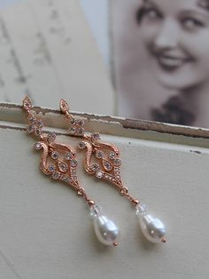 Rose Gold Art Deco Earrings Vintage Style Crystal Pearl