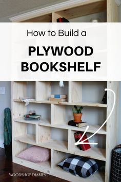 Build your own modern bookshelf that could stand along or be part of a built in system if you wanted. Made from basic plywood, this easy to assemble bookshelf has plenty of room for all your books, DVDs, blankets. Free Building Plans available on the website.