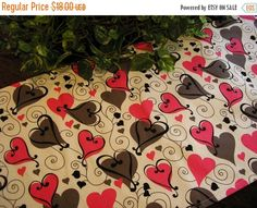 ON SALE Table Runner Pink Gray Black Hearts on White by MakeMeOver