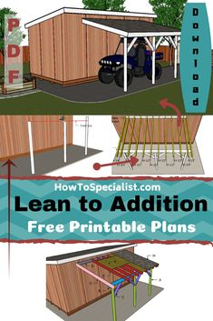 This step by step woodworking project is about how to build a lean to addition. If you need to attach a simple lean to roof to a shed or on already existing building, I've got you covered with step by step plans. Lean To Roof, Lean To Shed, Outdoor Projects, Home Projects, Outdoor Ideas, How To Build Steps, Porch Addition, Pergola Plans, Diy Pergola