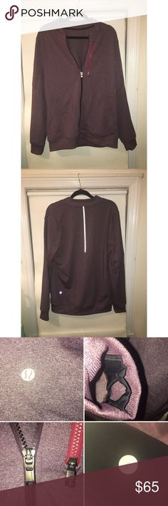 Men's Lululemon Jacket, Size Large, Reflective Size Large. Men's Lululemon Purple Zip Up. Reflective Strip on Back. Zipper on chest has two separate pocket compartments. Great condition.    ☀️Fast Shipping! ☀️Gently used. ☀️ I do custom bundles!  ☀️ ❌FP❌ means final price. lululemon athletica Sweaters Zip Up