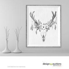 floral deer skull art print instant download printable deer art black and white antler boho wall art home decor rustic art digital art print