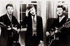 Paul McCartney, John Lennon and George Harrison play at the wedding reception for George's brother, Harry, in 1958 as The Quarrymen, two years before the formation of The Beatles George Harrison, George Lucas, Paul Mccartney, John Lennon, Johnny Rotten, Roger Daltrey, Anthony Kiedis, Michael Hutchence, Rock And Roll