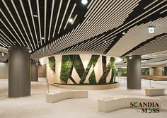 Green wall within the underground complex of Songpa Square in Seoul Interior Architecture, Interior And Exterior, Interior Design, Baffle Ceiling, Shopping Mall Interior, Moss Wall Art, Office Ceiling, Mix Use Building, Mall Design