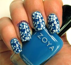 I seldom double stamp. I don't know why (lack of patience? Patterns that don't mesh?) but I decided to try it this once. I own more blue polishes than I should, so I went with that and used my newe...