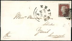 Postal History and Covers: Devon: Exeter: 1841 (May 8) cover from Exminster to Yeovil, bearing 1841 1d. red-brown plate 5 MI fine used with small to good margins, tied by black Maltese Cross with Exeter datestamp alongside.
