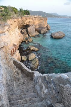 Stairway on the coast near Kura Hulanda, Curaçao Island