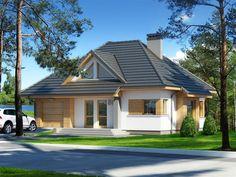 Ten niewielkich gabarytów dom z całą pewnością jest idealnym rozwiązaniem dla osób ceniących dobrze wykorzystaną przestrzeń użytkową i wygodę. Exterior House Colors, Exterior Design, Bungalow Conversion, Modern Bungalow House, Model Homes, My House, Architecture Design, House Plans, Home And Family